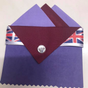 Light Purple & Burgundy Pocket Hankie with Burgundy Flap & Pin